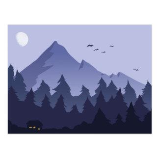 Nachtzeit in einer Gebirgskabinen-Postkarte Postkarte