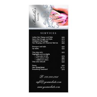 Nagel-Salon-Polnisch-Silber-Rosa-Service-Menü Werbekarte