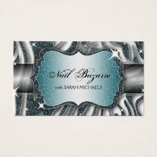 Nagel-Techniker-Geschäfts-Kartezebra-Druck-Glitzer Visitenkarte