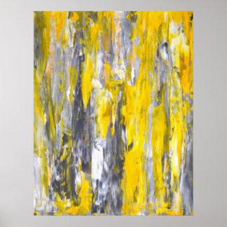 """""""Nagelte es"""" graues und gelbes abstraktes Poster"""