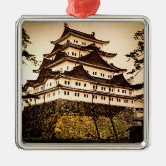 Nagoya-Schloss in altem Japan Vintagem 名古屋城 Quadratisches Silberfarbenes Ornament