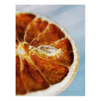 Nahaufnahme einer getrockneten Scheibe der Zitrone Postkarte