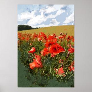 Nahe hohe Ansicht des grünen Feldes der roten Poster