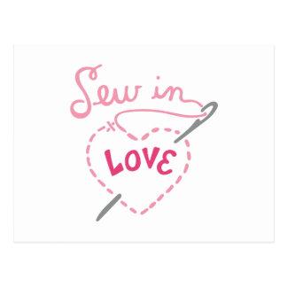 Nähen Sie in der Liebe Postkarte