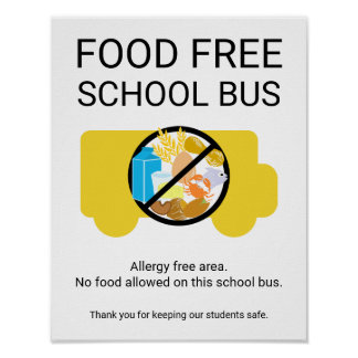 Nahrungsmittelfreie Schulbus-Allergie-Schutzzone Poster