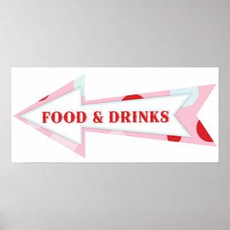 Nahrungsmittelgetränk-Pfeil-Zeichen-Karnevals-Zirk Poster
