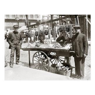 Nahrungsmittelwagen in wenigem Italien, 1908 Postkarte