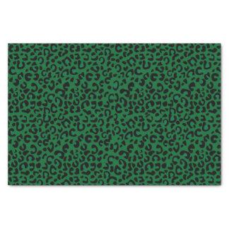 Nahtlose dunkelgrüne wilde Katzen-Tierdruck Seidenpapier