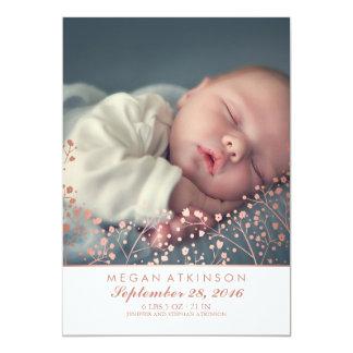 Naissance de photo de bébé du souffle d'or du bébé carton d'invitation  12,7 cm x 17,78 cm