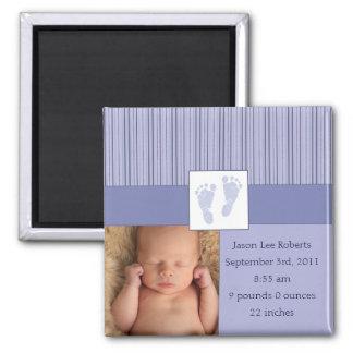 Naissance d'empreintes de pas de bébé - bleu magnets