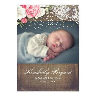 Naissance florale de bébé de photo d'or de carton d'invitation  12,7 cm x 17,78 cm