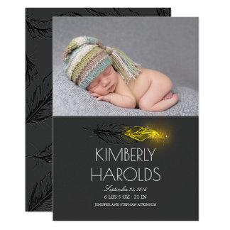 Naissance nouveau-née de photo de bébé de plume de carton d'invitation  12,7 cm x 17,78 cm