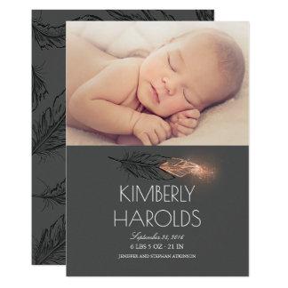 Naissance nouveau-née de photo de bébé d'or de carton d'invitation  12,7 cm x 17,78 cm