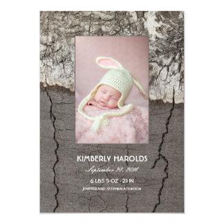 Naissance nouveau-née en bois rustique de photo de carton d'invitation  12,7 cm x 17,78 cm