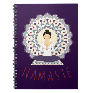 Namaste in der Lotos-Pose - Yoga Asana Spiral Notizblock