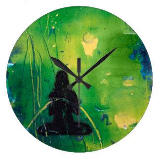 Namaste runde Uhr Große Wanduhr