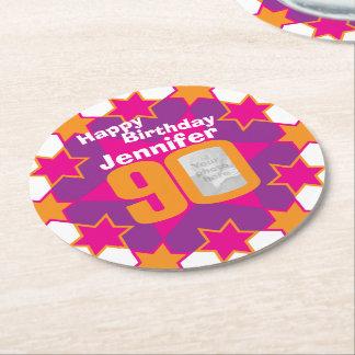 Name alles Gute zum Geburtstag 90 und Runder Pappuntersetzer