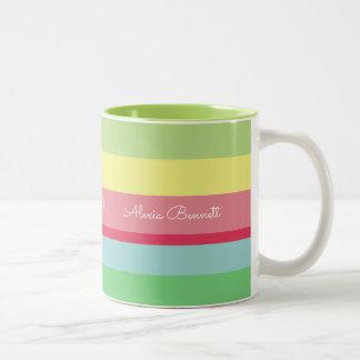 Name auf Streifen, färben gestreift Zweifarbige Tasse