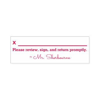 """Name + """"Bitte wiederholen Sie, unterzeichnen Sie Permastempel"""