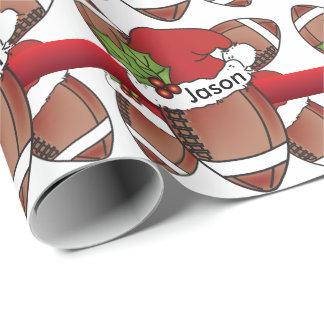 Name des Weihnachtsmannmütze-Weihnachtsfußball-| Geschenkpapier