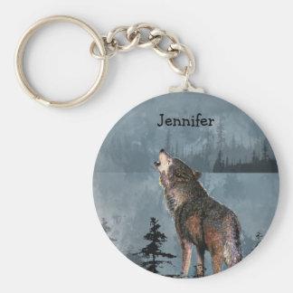 Name-einsamer Wolf, der über See heult Schlüsselanhänger