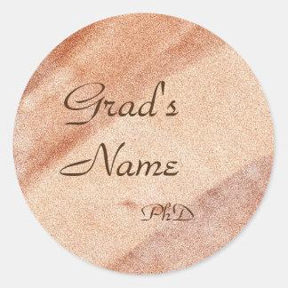Name+Grad-Schablonen-Abschluss-Aufkleber Runder Aufkleber