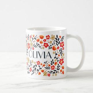 Name-hübsche rote bunte Girly mit BlumenTasse Kaffeetasse