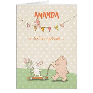 Name-Kindermädchen-Dank-Bär und Häschen Karte