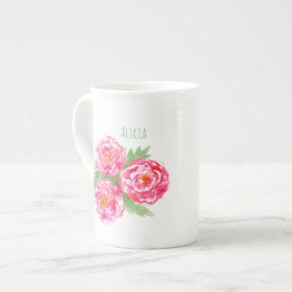 Name-Knochen-China-Tassen-RosenWatercolor Prozellantasse