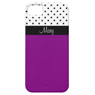 Name-lila violette weiße u. schwarze Polka-Punkte Barely There iPhone 5 Hülle