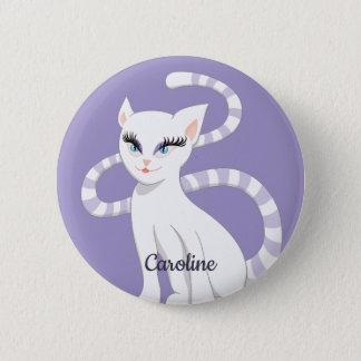 Name-schöner Cartoon-niedliche weiße Katze Runder Button 5,1 Cm