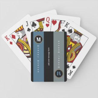 Name und Initiale auf Streifen, modernes mit Spielkarten