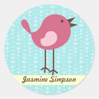 Namen-Aufkleber-/Aufkleber-rosa Vogel - blauer Runder Aufkleber