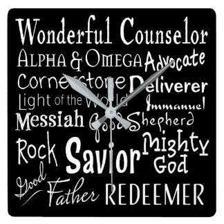 Namen des Gottes von der Bibel in Schwarzweiss Quadratische Wanduhr