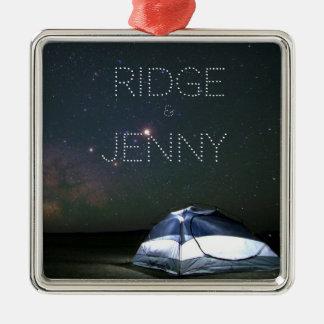 Namen geschrieben in das Stern-Camping Quadratisches Silberfarbenes Ornament