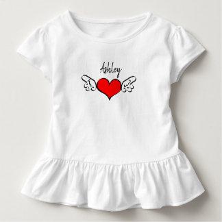 Namen-Shirt-Kleid Herz-Flügelvalentines Tages Kleinkind T-shirt
