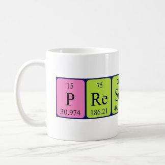 Namen-Tasse der periodischen Tabelle des Prescott Kaffeetasse