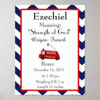 Namensbedeutungsandenken-Kinderzimmer Ezechiel Poster