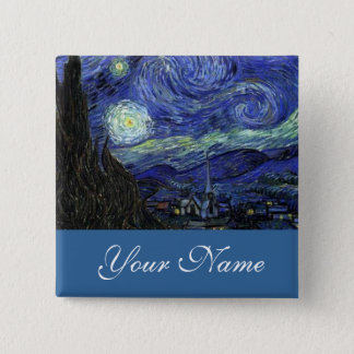 NamensButton, Vincent van Gogh, Starry Nacht Quadratischer Button 5,1 Cm