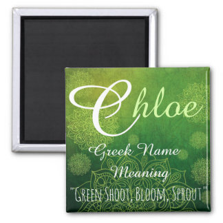 Namensmagnet: Chloe, Sprössling, Blüte Quadratischer Magnet