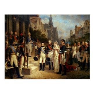 Napoleon Bonaparte, der Königin Louisa empfängt Postkarte