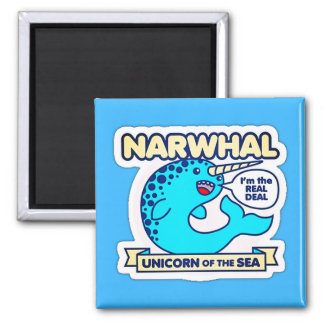 Narwhal Einhorn des Meeres Quadratischer Magnet