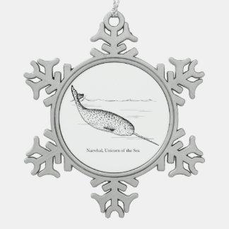 Narwhal Wal-Einhorn des Meeres Schneeflocken Zinn-Ornament