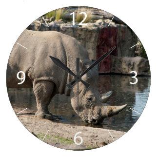 Nashorn Große Wanduhr