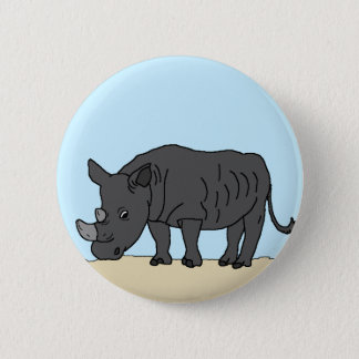 Nashorn in der Savanne Runder Button 5,1 Cm