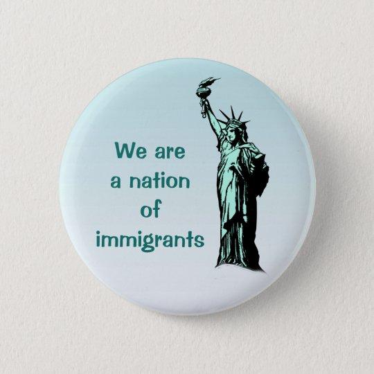 Nation des Immigrant-Blau-Knopfes Runder Button 5,7 Cm
