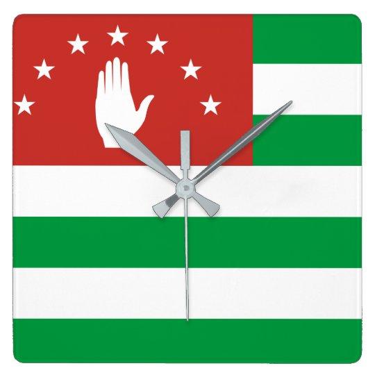 Nationale Weltflagge Abchasiens Quadratische Wanduhr