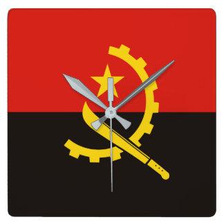 Nationale Weltflagge Angolas Quadratische Wanduhr