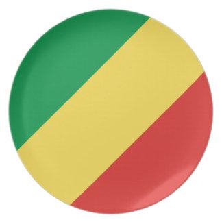 Nationale Weltflagge des Kongos Teller
