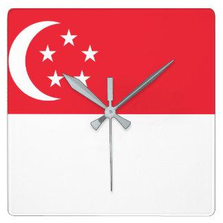 Nationale Weltflagge Singapurs Quadratische Wanduhr